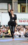 Rihanna performs live wearing black leather trousers on the CBS Early Show in New York City
